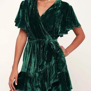 Green velvet mini dress